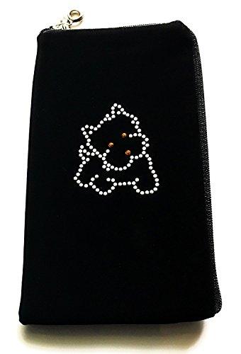 Zipper Reissverschluss Handytasche Soft Case mit Strass Motiv Hund geeignet für