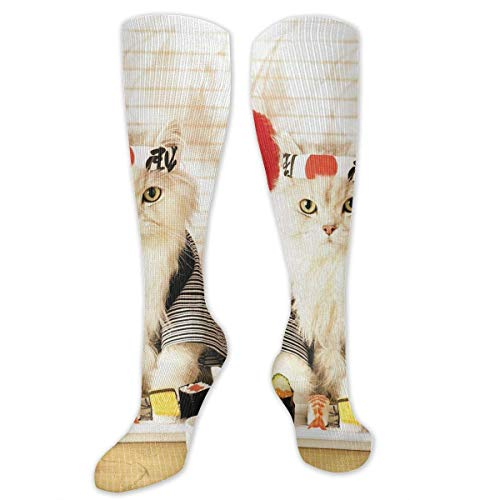 woiebntb3b3 Classics Compression Socks Sushi Cat Japanese Cute Funny Kitten Personalized Sport Athletic 50cm Long Crew Socks for Men Women 19.68 inch