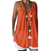GRMO Womens Summer Plus Size Relaxed Fit Sleeveless Lace Stitching T-Shirt Blouse Tank Top 1 5XL