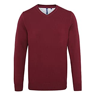 Asquith & Fox Mens Cotton Blend V Neck Sweater - 9 Colours - Burgundy - 2XL