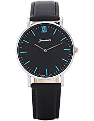 UQ Montre quartz-Analogique-Unisexe-B3 106-Rond-Simple classique-Cadran Noir Chiffres Bleu-Bracelet cuir Noir