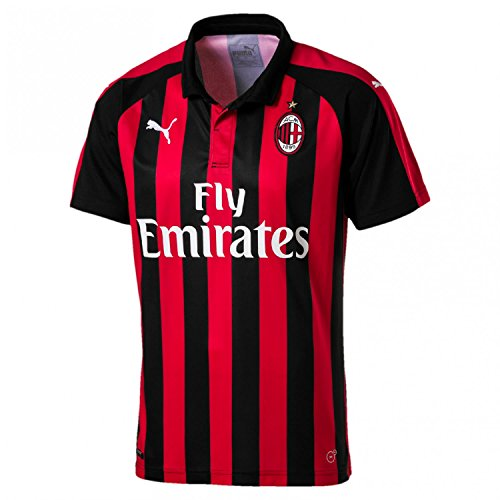 Puma AC Milan Home Shirt Replica SS with Sponsor Logo Jersey, Hombre, Tango Red/Black, XL