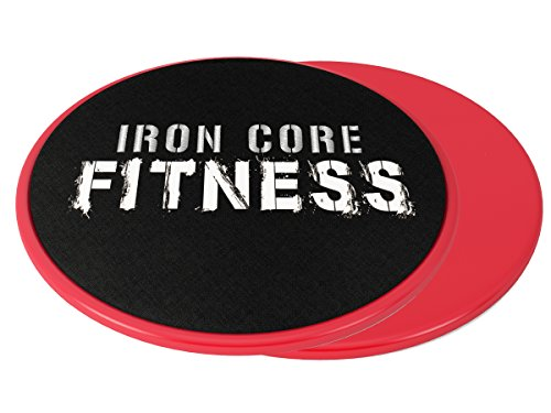 2 x Dual Sided Gliding Discs Core Sliders by Iron Core Fitness | Ultimate Core Trainer | Gym, Home Abdominal & Total Body Workout Equipment | For use on ALL surfaces by Iron Core Fitness
