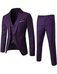 SANKE Männer Slim Fit One Button 3-teilige Anzüge Hochzeit Party   Working  Blazer 5f8e2d29e2