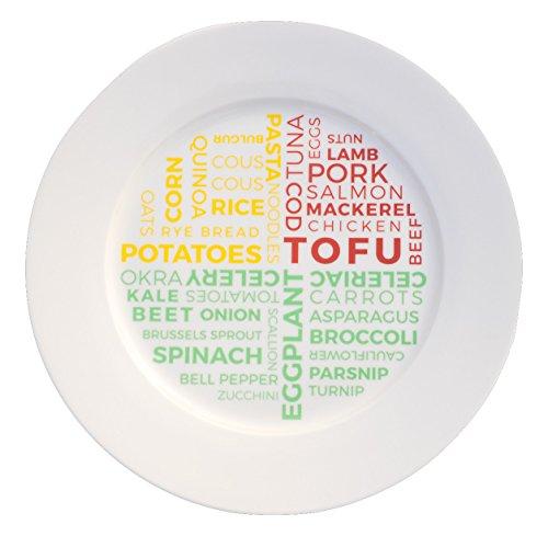 Plato de control de porciones de cerámica para pérdida de peso, este plato de cerámica para dietas no tiene melamina, se puede usar en microondas y lavavajillas.