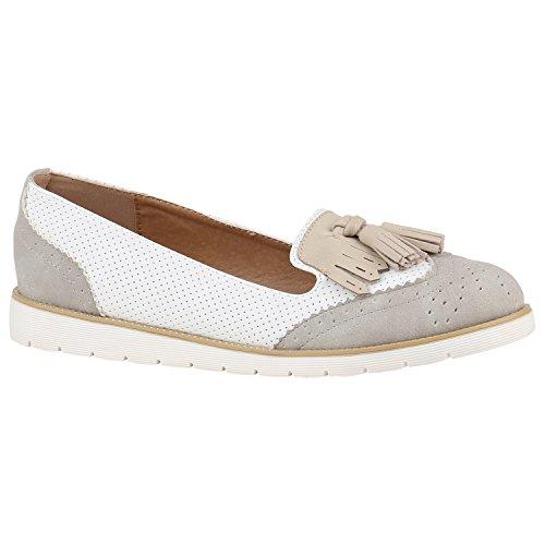 Damen Schuhe Slipper Loafers Lack Metallic Flats Profilsohle 156194 Grau Weiss Creme 39 Flandell