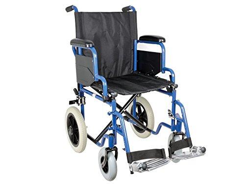 Gima - Carrozzina Essex, Sedia a Rotelle per Anziani e Disabili, Tessuto Nero, Telaio Blu, Seduta 43 cm.