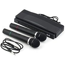 LESHP - Equipo de Karaoke 2 Micrófonos Inalámbricos (dual canal, banda UHF), color negro