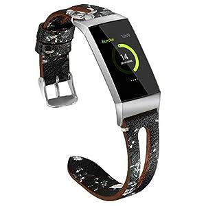 Leder Armband für Fitbit Charge 3, Colorful Luxus Leder Armbänder Wrist Strap Uhrarmband Unisex Ersatzband mit Edelstahlschließe für Fitbit Charge 3 SE (5.5″-6.7″)