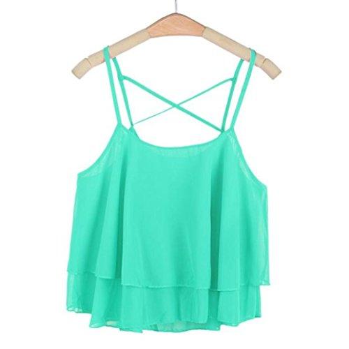 Siswong Femmes Irrégulière Été Sangle en Mousseline de Soie Chemisier en Mousseline t-Shirt Debardeur Femme Camisole Gilet Vert