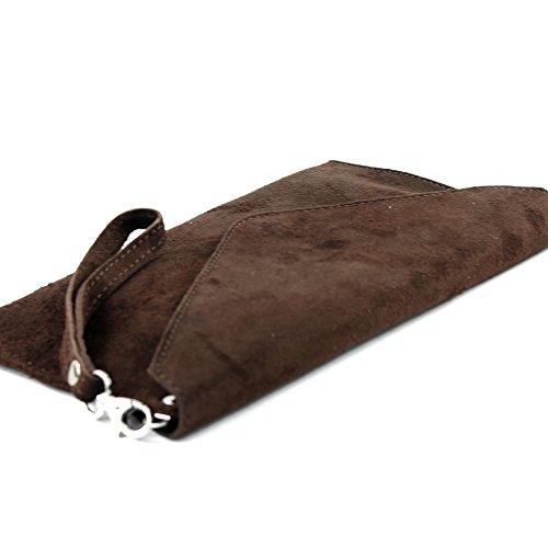 modamoda de–Pochette italiana in pelle, con passante, da donna, camoscio, T106 Cioccolato