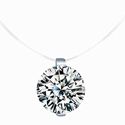 Unendlich U Infinite U Creative 925 Sterling Silver Multi Coloured Cubic Zirconia Pendant Solitaire Necklace Fishing Line Nylon Chain for Women/Girls by Infinite Jewellery