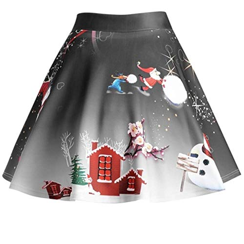 JYJM 2018 Frauen Weihnachten Santa 3D Print Flare Elastische Hohe Taille Cosplay Ballkleid Rock Rockabilly Kleid Partykleider Cocktailkleider GD6086 Oodji Ultra Damen Viskose-Kleid Basic (Für Santa-kleid Frauen)