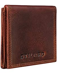 STILORD 'Cody' Mini Monedero Cuero con Compartimento para Billetes Mini Billetera Hombre Piel Vintage Organizador Pequeña con Cremallera Slim Wallet