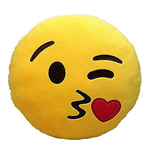 Brigamo 510 - Emoticon KISSEN AUS PLÜSCH, 30 cm Durchmesser,Smiley Kissen mit diversen Motive zum sammeln (Emoticon mit Sonnenbrille) thumbnail