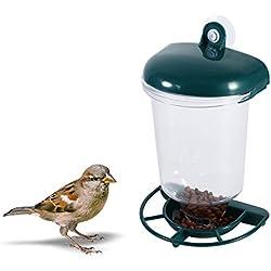 Zerodis Alimentador de pájaros silvestres Alimentador de semillas de pájaros colgante de ventana automático, plástico con ventosa Patio trasero al aire libre
