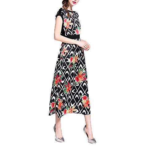 L.J.J Kleiden Womens Schulter Schulter Morning Glory Mode Print Kleid Maxi-Kleid Kleid (Color : Black, Size : M) -