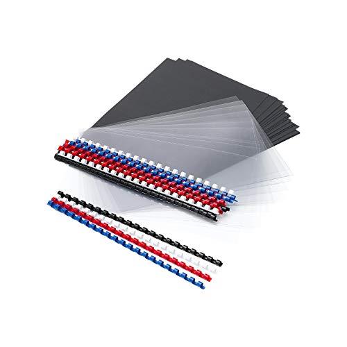 Spiralbinderücken Set, Binderücken, Spiralbindung, Plastikbinderücken - 60-teiliges Set für 20 Präsentationsmappen, DIN A4, Ø 8 mm, farblich sortiert