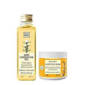 Auravedic Ritual Skin Lightening Mask,100g and Auravedic Skin Lightening Oil, 100ml