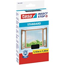 tesa Fliegengitter für Fenster, Standard Qualität, anthrazit, durchsichtig, 1,1m x 1,3m