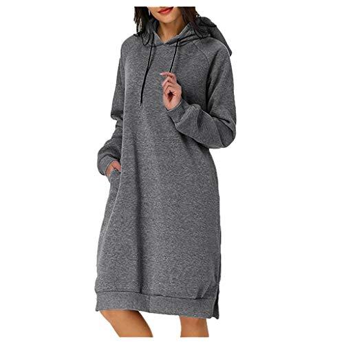 Zegeey Damen PulloverKleid Langarm Einfarbig Hoodie Kapuze Herbst Winter LäSsige Lose GroßE GrößEn Basic Kleid Sweatshirt Outwear Mit Tasche(Grau,XL)