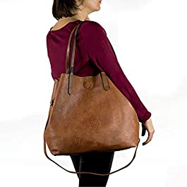 Emila Borsa shopping donna a spalla grande capiente tipo bag con borsello borsellino e tracolla tre pezzi 3 shopper da inverno 2019 2020 invernale autunnale giornaliera tutti i giorni lavoro ufficio