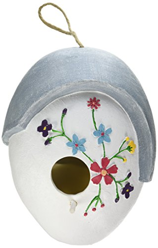 Wildbird Care Pet Supplies Resin Hanging Bird House with Flower BRH01 (White)