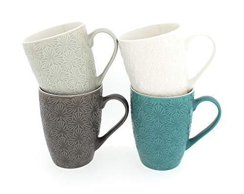 MC Trend 4er Set Kaffee-Becher Uni geprägt Struktur Edel Tasse Frühstück Brunch Geschirr Küche Büro Geschenk-Idee -