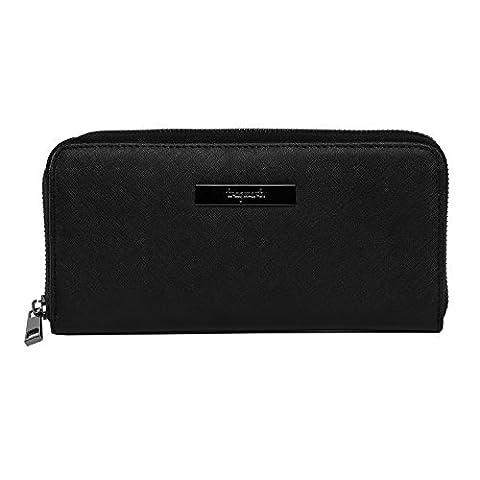 tragwert. Portemonnaie Damen Geldbörse in schwarz - Geldbeutel Portmonee MARIE aus veganem Saffiano- Leder für Frauen