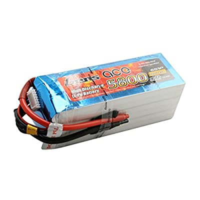Gens ace 5800mAh 22.2V 45°C 6S1P Model LiPo Battery Pack for RC Car Helicopter Plane Boat Truck FPV Helicopter Airplane Toys by Gens ace
