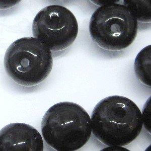 50pièces 8mm Perles Ronde en Verre Cristal–Noir–a3661