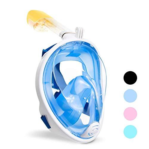 Vollmaske Schnorchelmaske Tauchmaske Vollgesichtsmaske mit 180° Sichtfeld, Dichtung aus Silikon Anti-Beschlag Wasserdicht Anti-Leck Technologie (Blau, S/M)