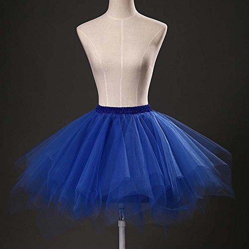 VKStar® Retro Damen Kurz Rock Ballett Einheitsgröße Vintage petticoat 50er Unterrock Reifrock Mehrfarbige Unterröcke Königsblau