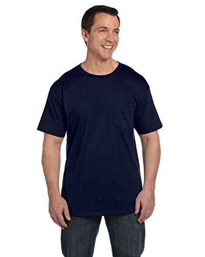 Hanes Mens Beefy-T T-Shirt With Pocket Blau - Navy