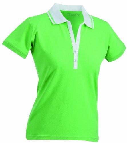 James & Nicholson Polo fonctionnel à manches courtes élastiques pour femme vert - Vert citron/blanc