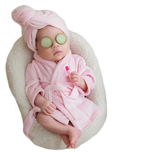 Verberra Bebé accesorios de fotografía Recién nacido Disparos fotográficos Niño niña Foto Prop vestuario Albornoz (Rosado)