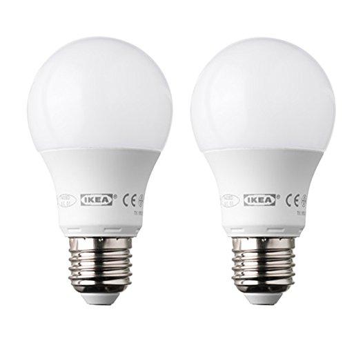Ikea Ledare - Bombilla LED E27 de forma redonda y 400 lúmenes (2 unidades), color blanco opaco