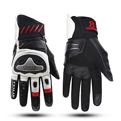 Mh96_italy guanti moto in pelle professionali traspiranti touch screen da pista viaggio con protezione in carbonio (xxl, bianco)