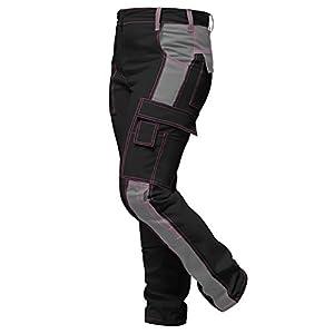 strongAnt® – Elasticos Pantalones de Trabajo para Mujer Gris Negro. Pantalón de Trabajo Completo con Bolsillos para Rodilleras. Cremallera YKK + botón YKK – Hecho en la UE