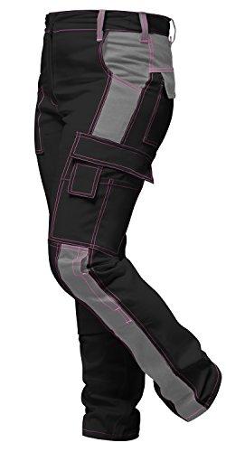 strongAnt® - Damen Arbeitshose komplett Stretch Schwarz Grau Pink für Frauen Bundhose mit Kniepolstertaschen. Reißverschluss YKK + Metallknopf YKK - Made in EU - Schwarz-Grau 76