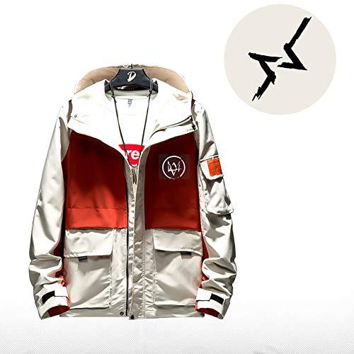 73HA73 Felpa da Uomo con Cappuccio e Zip PS4 Steam Watch DOGS2 Jacket Manica Lunga Confortevole Sweatshirt Unisex Giacca (No Shirt),orange3,M(165-175cm)