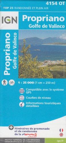 IGN 4154 OT Propriano, Golfe de Valinco (Corse, France) 1:25.000 carte de randonnée topographique