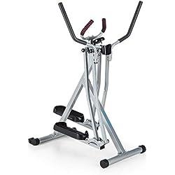 Capital Sports Air-Walker - Bicicleta elíptica , Caminador , Completo , Movimiento Horizontal y Vertical , Ordenador , Pantalla LCD , Soporte de Tablet , Plegable , hasta 100 kg , Plateado-Negro