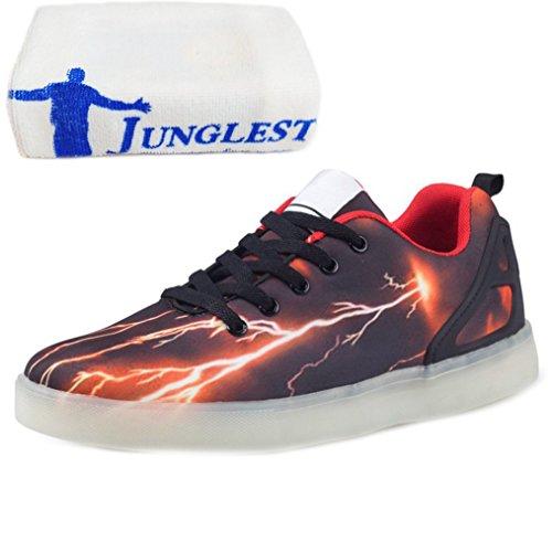 [Present:kleines Handtuch]JUNGLEST LED Leuchtende Sport Schuh Schuhe Sportschuhe Sneaker Turnschuhe 7 Farben USB Schwarz
