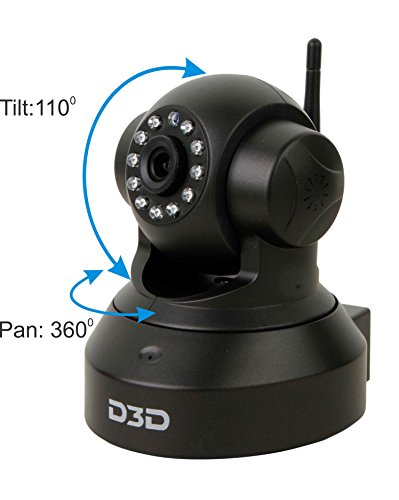 D3D Wireless HD IP Wifi CCTV Indoor Security Camera (Support upto 128 GB Micro SD card) (Black Color) Model:D8801