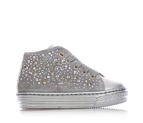 FLORENS - Sneaker grigia stringata in pelle e camoscio, con chiusura a zip laterale, logo metallico sulla linguetta, strass e borchiette decorative, Bambina, Ragazza-25