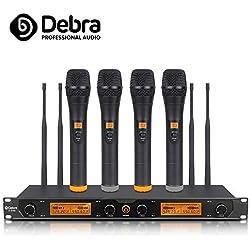 Debra Audio D-240 UHF Système de microphone sans fil 4 canaux récepteur en métal avec 4 micros pour scène, église, petite nuit karaoké