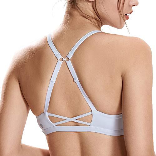 CRZ YOGA - Sujetador Deportivo Yoga Cruzados Strappy Sin Aros Ropa Interior para Mujer Blanco_H161 L