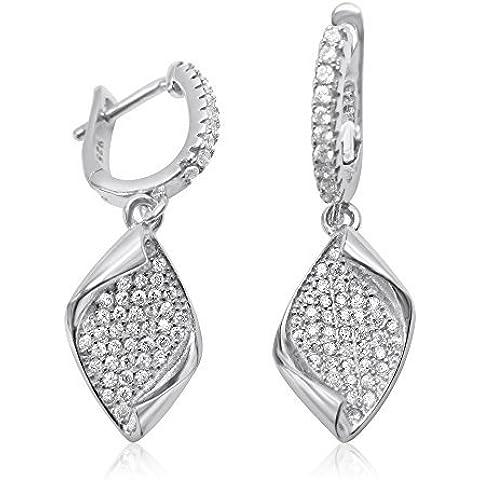 Velini, da donna orecchini a cerchio P3046, Argento 925, micro pavé incastonato AAA zircone cubico pietre, fa brillare like diamanti