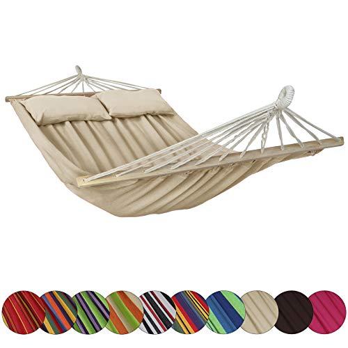 Amaca con supporto cibao con 2 cuscini inclusi dimensioni telo 240x140 cm disponibile in molti colori carico massimo 300 kg per 2 persone, colore:spiaggia